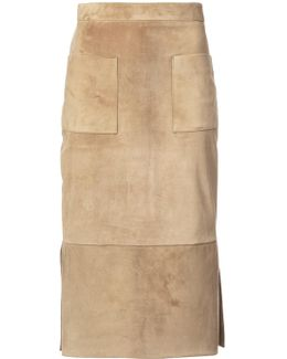 Suede Straight Skirt