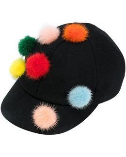 Pom Pom Baseball Cap