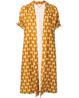 Geometric Print Kimono Coat