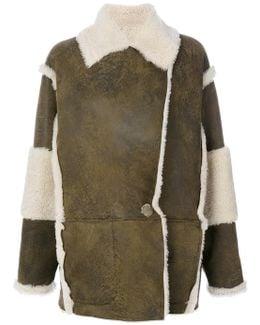 Contrast Shearling Coat