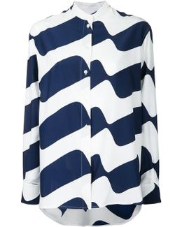 Oversized Wave Print Silk Crepe Shirt
