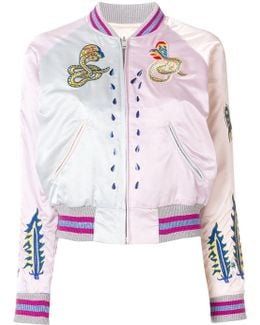 Embroidered Snakes Bomber Jacket