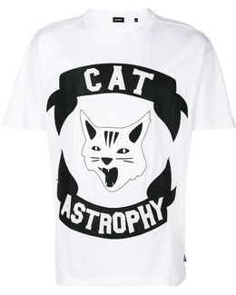 Cat Astrophe Print T-shirt