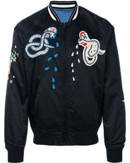 Snake Embroidered Bomber Jacket