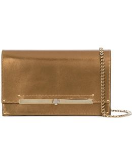 Metallic (grey) Twist-lock Clutch Bag