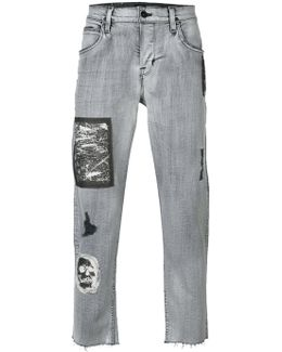 Patches Cropped Tapered Jeans
