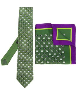 Penguin Print Tie And Pocket Square Set