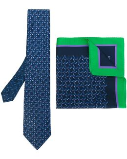 Arrow Print Tie And Pocket Square Set