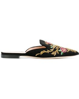 Flower Embroidered Flat Mules