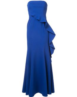 Strapless Ruffle Panel Gown