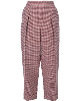 Dogtooth Cropped Trousers