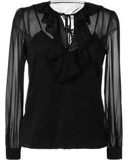 Lace-trimmed Ruffle Blouse
