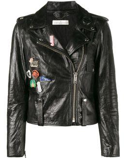 Badge Emblazoned Leather Jacket