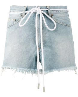 Drawstring Cut-off Denim Shorts