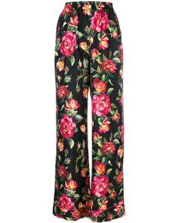 Roses Print Silk Pajama Pants