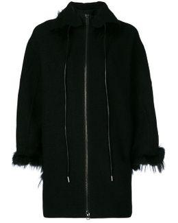 Zipped Fur Trim Coat