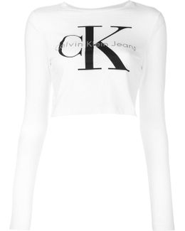 Cropped Long-sleeved Branded Top
