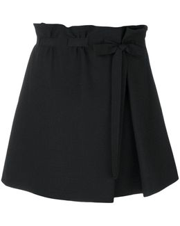 Gathered Waist Belted Skirt