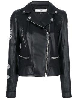 Printed Back Biker Jacket