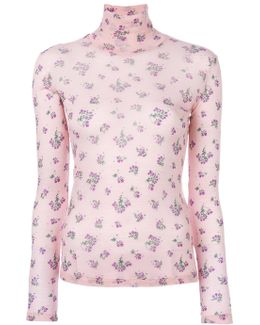 Roll Neck Floral Sweater