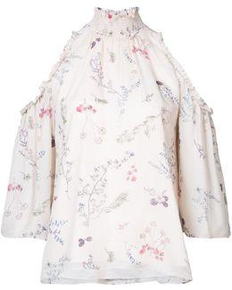 Floral Print Cold-shoulder Blouse
