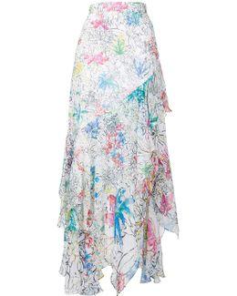 Floral Print Ruffled Skirt