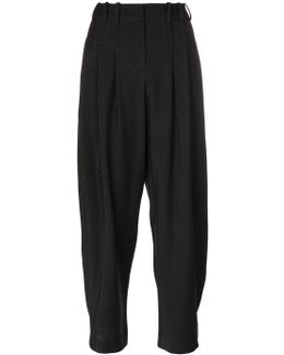 Pleated Waist Cropped Trousers