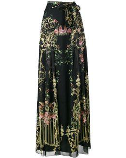 Floral Print Long Wrap Skirt