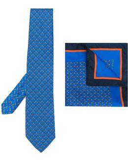 Hare Print Tie And Pocket Square