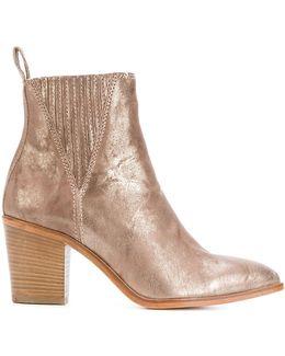 Metallic (grey) Slip-on Ankle Boots