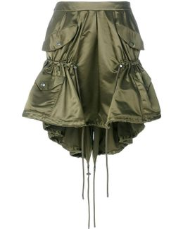 Drawstring Nylon Cargo Skirt