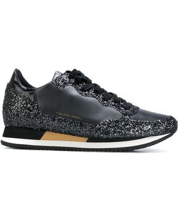 Glittery Effect Lace-up Sneakers