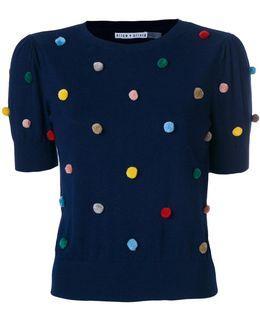 Pompom Embellished Knitted T-shirt