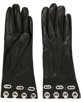 Eyelets Embellished Gloves