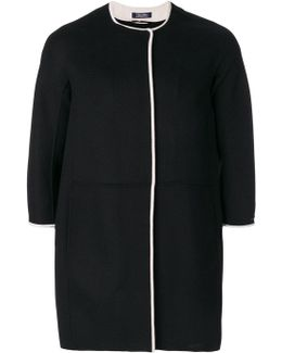 Cropped Sleeve Round Neck Coat
