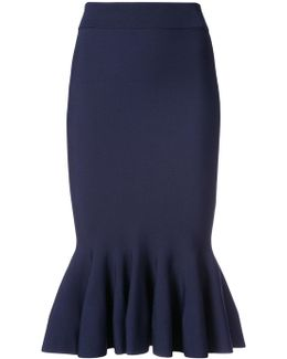 Fluted Ribbed-knit Midi Skirt