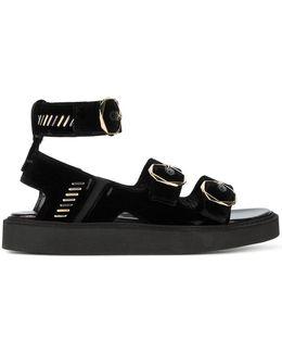 Buckled Velvet Sandals