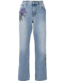 Floral Embroidered Straight-leg Jeans