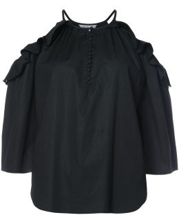 Cut-out Shoulders Frilled Blouse