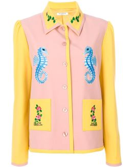 Seahorse Embroidery Fitted Jacket