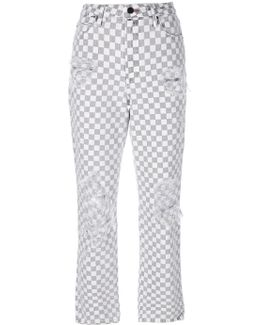 Checkered Straight Jeans