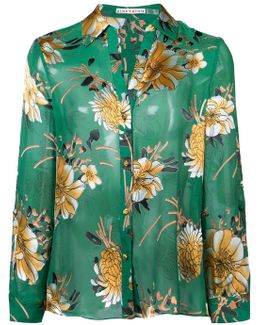Floral Print Sheer Blouse