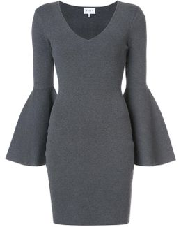 Flared Sleeve Fitted Dress