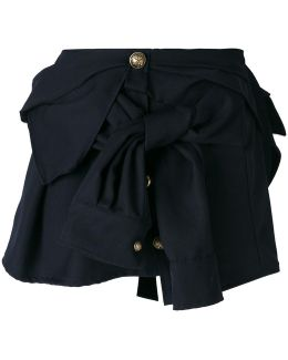 Button Detail Bow Mini Skirt