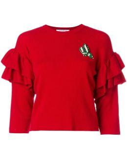Ruffle Cropped Sleeve Sweater