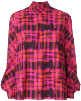 Checked High Neck Blouse