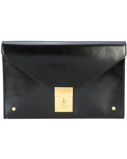 Folder Clutch In Black Calf Leather