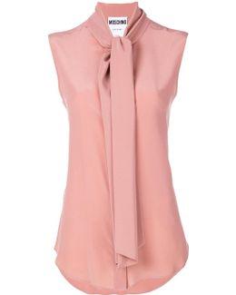Sleeveless Scarf Tie Blouse