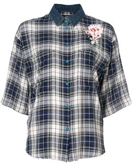 Check Flower Appliqué Shirt
