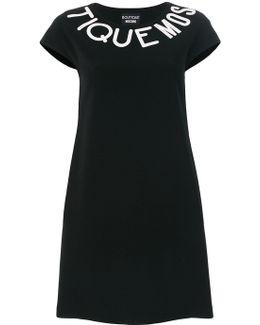 Logo Cap Sleeve Mini Dress